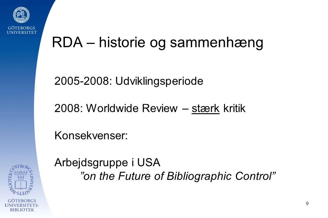 RDA – historie og sammenhæng 9 2005-2008: Udviklingsperiode 2008: Worldwide Review – stærk kritik Konsekvenser: Arbejdsgruppe i USA on the Future of Bibliographic Control