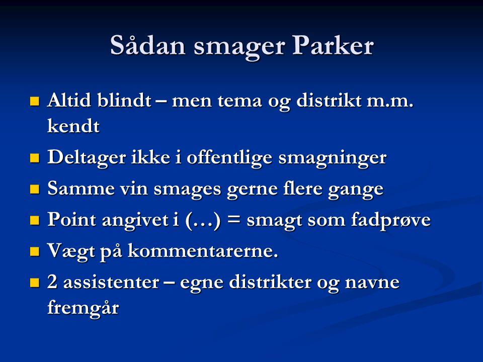 Sådan smager Parker Altid blindt – men tema og distrikt m.m.