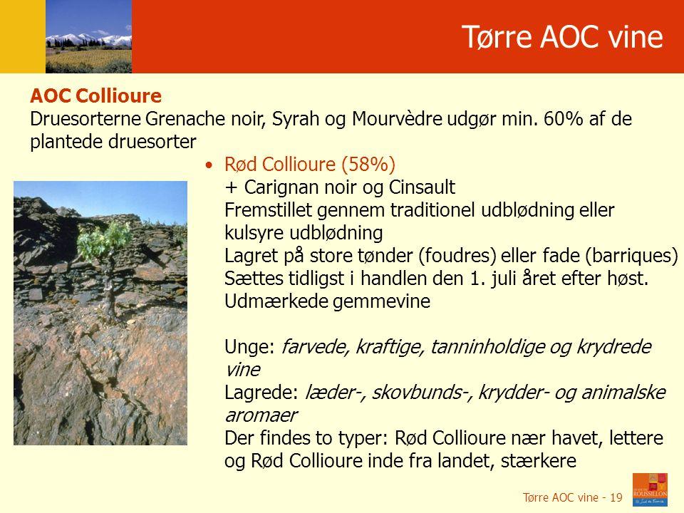 Położenie geograficzne Tørre AOC vine AOC Collioure Druesorterne Grenache noir, Syrah og Mourvèdre udgør min.