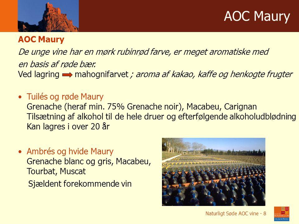 Winnice w liczbach AOC Мaury AOC Maury De unge vine har en mørk rubinrød farve, er meget aromatiske med en basis af røde bær.