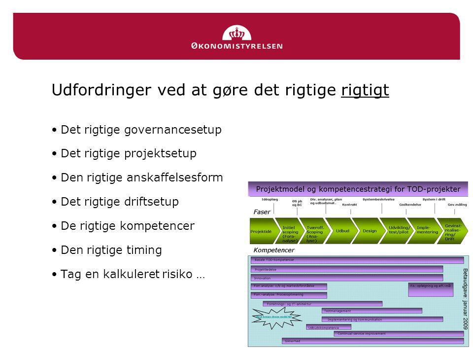 Udfordringer ved at gøre det rigtige rigtigt Det rigtige governancesetup Det rigtige projektsetup Den rigtige anskaffelsesform Det rigtige driftsetup De rigtige kompetencer Den rigtige timing Tag en kalkuleret risiko …