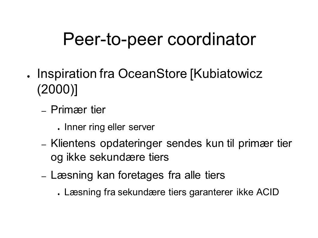 Peer-to-peer coordinator ● Inspiration fra OceanStore [Kubiatowicz (2000)] – Primær tier ● Inner ring eller server – Klientens opdateringer sendes kun til primær tier og ikke sekundære tiers – Læsning kan foretages fra alle tiers ● Læsning fra sekundære tiers garanterer ikke ACID