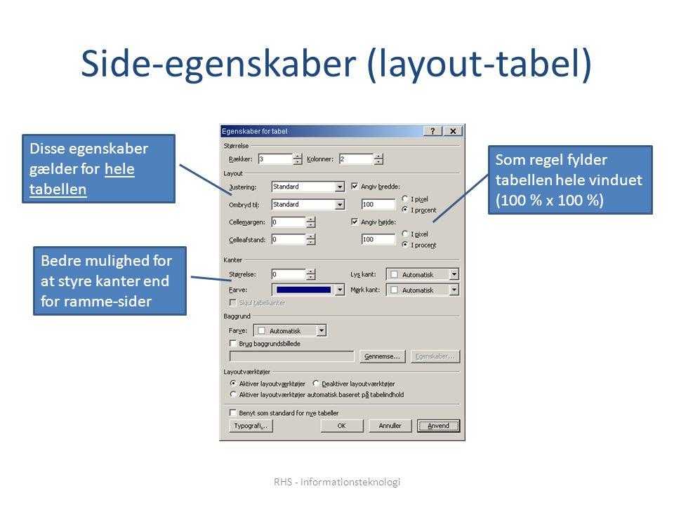 Side-egenskaber (layout-tabel) Disse egenskaber gælder for hele tabellen Som regel fylder tabellen hele vinduet (100 % x 100 %) Bedre mulighed for at styre kanter end for ramme-sider RHS - Informationsteknologi