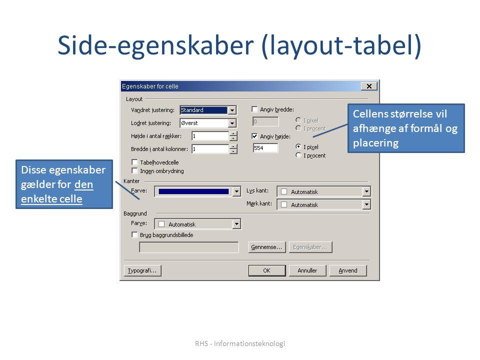 Side-egenskaber (layout-tabel) Disse egenskaber gælder for den enkelte celle Cellens størrelse vil afhænge af formål og placering RHS - Informationsteknologi
