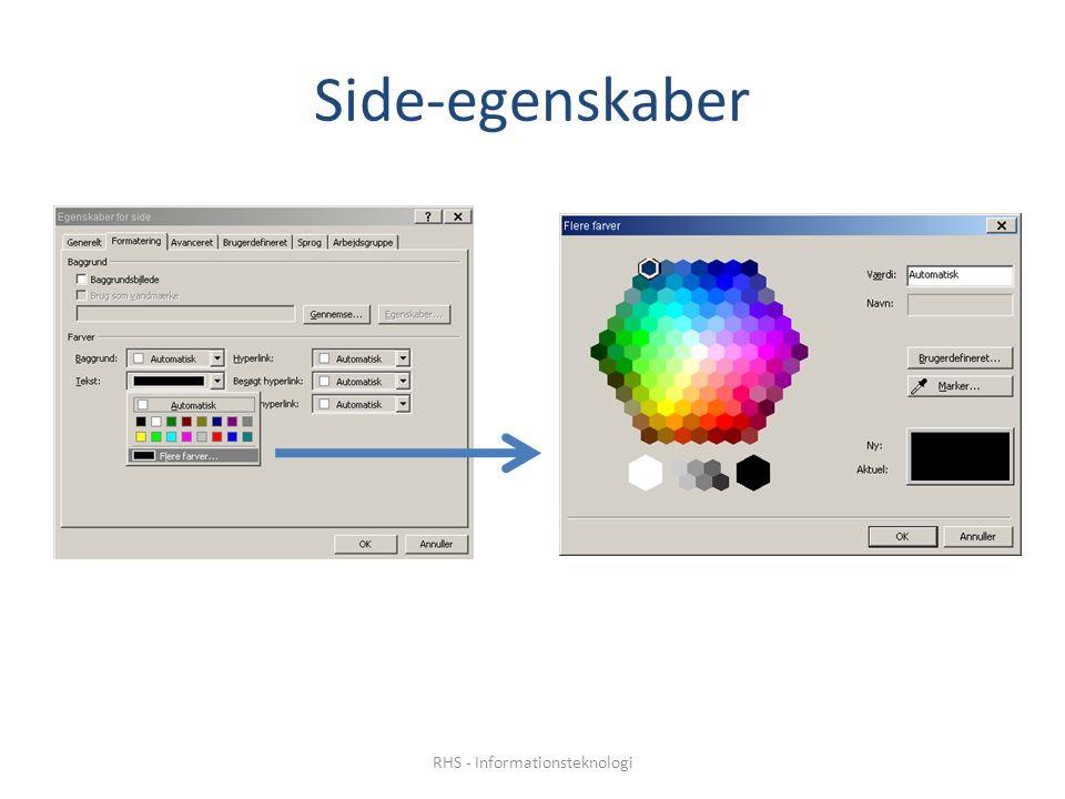 Side-egenskaber RHS - Informationsteknologi