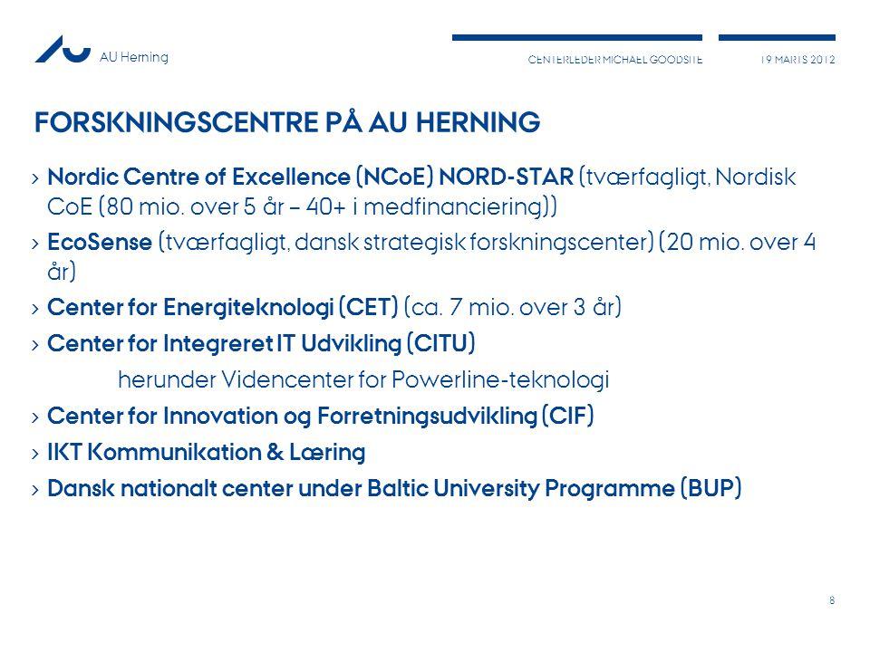 AU Herning 19 MARTS 2012 CENTERLEDER MICHAEL GOODSITE FORSKNINGSCENTRE PÅ AU HERNING › Nordic Centre of Excellence (NCoE) NORD-STAR (tværfagligt, Nordisk CoE (80 mio.