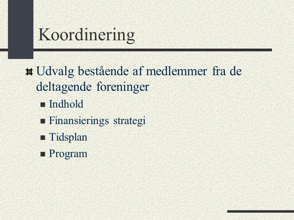 Koordinering Udvalg bestående af medlemmer fra de deltagende foreninger Indhold Finansierings strategi Tidsplan Program
