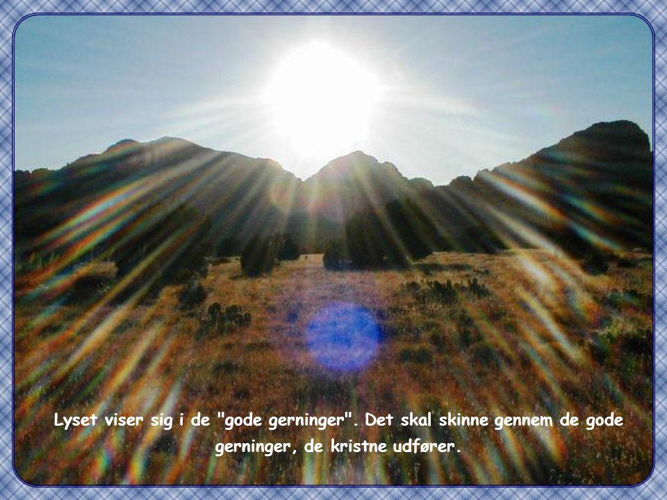 """""""Således skal jeres lys skinne for mennesker, så de ser jeres gode gerninger og priser jeres fader, som er i himlene """" (Mt 5,16)"""