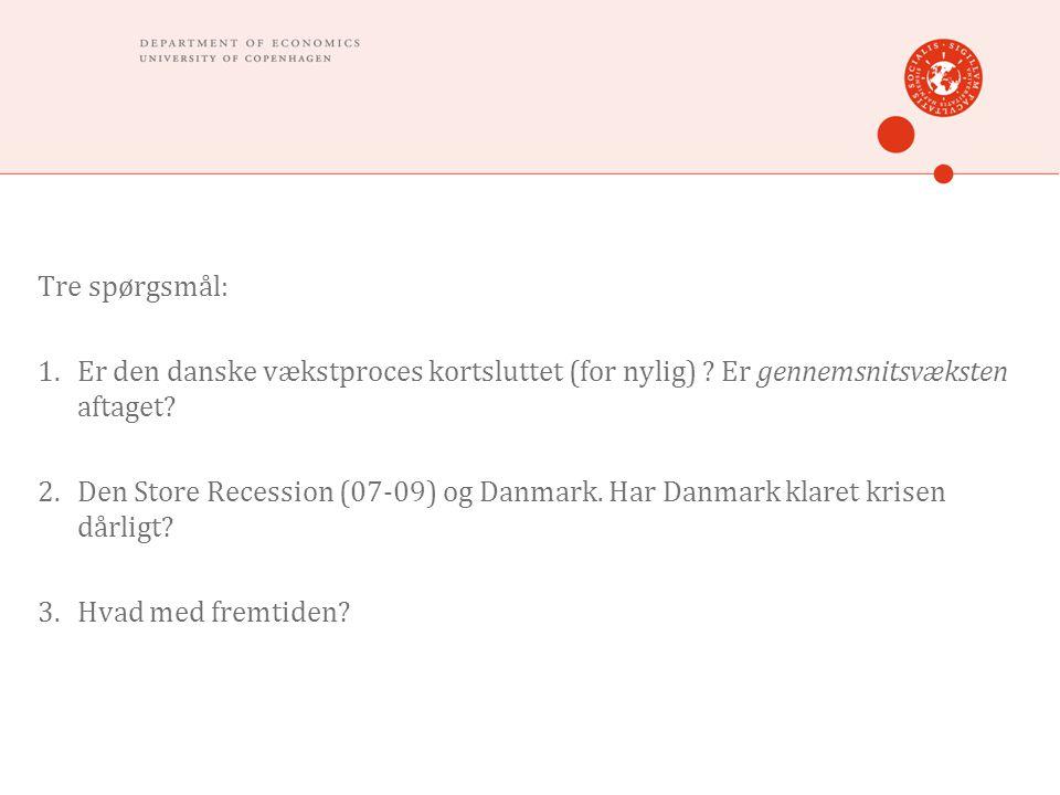 Tre spørgsmål: 1.Er den danske vækstproces kortsluttet (for nylig) .