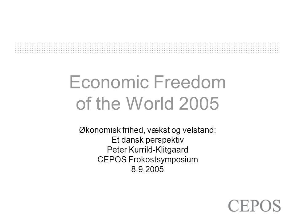 Economic Freedom of the World 2005 Økonomisk frihed, vækst og velstand: Et dansk perspektiv Peter Kurrild-Klitgaard CEPOS Frokostsymposium 8.9.2005