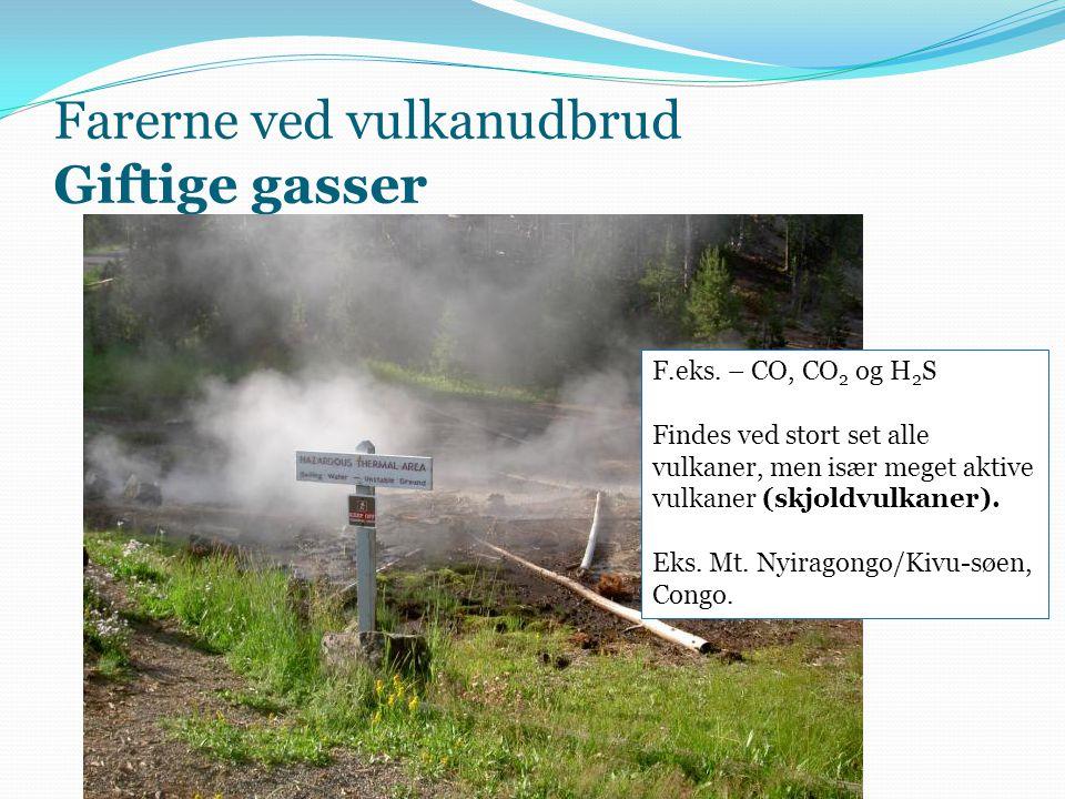 Farerne ved vulkanudbrud Giftige gasser F.eks.