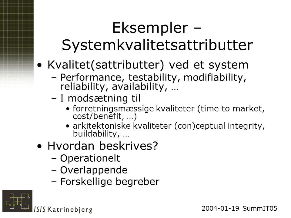 2004-01-19 SummIT05 Eksempler – Systemkvalitetsattributter Kvalitet(sattributter) ved et system –Performance, testability, modifiability, reliability, availability, … –I modsætning til forretningsmæssige kvaliteter (time to market, cost/benefit, …) arkitektoniske kvaliteter (con)ceptual integrity, buildability, … Hvordan beskrives.