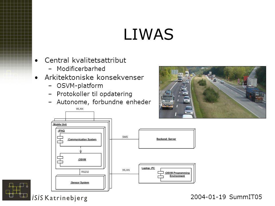 2004-01-19 SummIT05 LIWAS Central kvalitetsattribut –Modificerbarhed Arkitektoniske konsekvenser –OSVM-platform –Protokoller til opdatering –Autonome, forbundne enheder