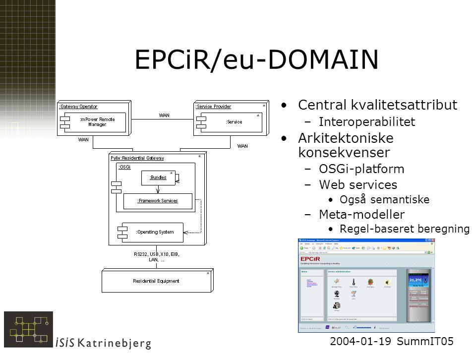 2004-01-19 SummIT05 EPCiR/eu-DOMAIN Central kvalitetsattribut –Interoperabilitet Arkitektoniske konsekvenser –OSGi-platform –Web services Også semantiske –Meta-modeller Regel-baseret beregning