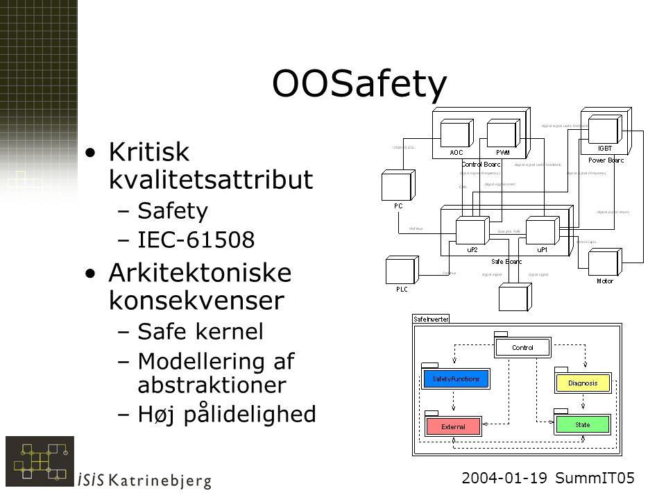 2004-01-19 SummIT05 OOSafety Kritisk kvalitetsattribut –Safety –IEC-61508 Arkitektoniske konsekvenser –Safe kernel –Modellering af abstraktioner –Høj pålidelighed