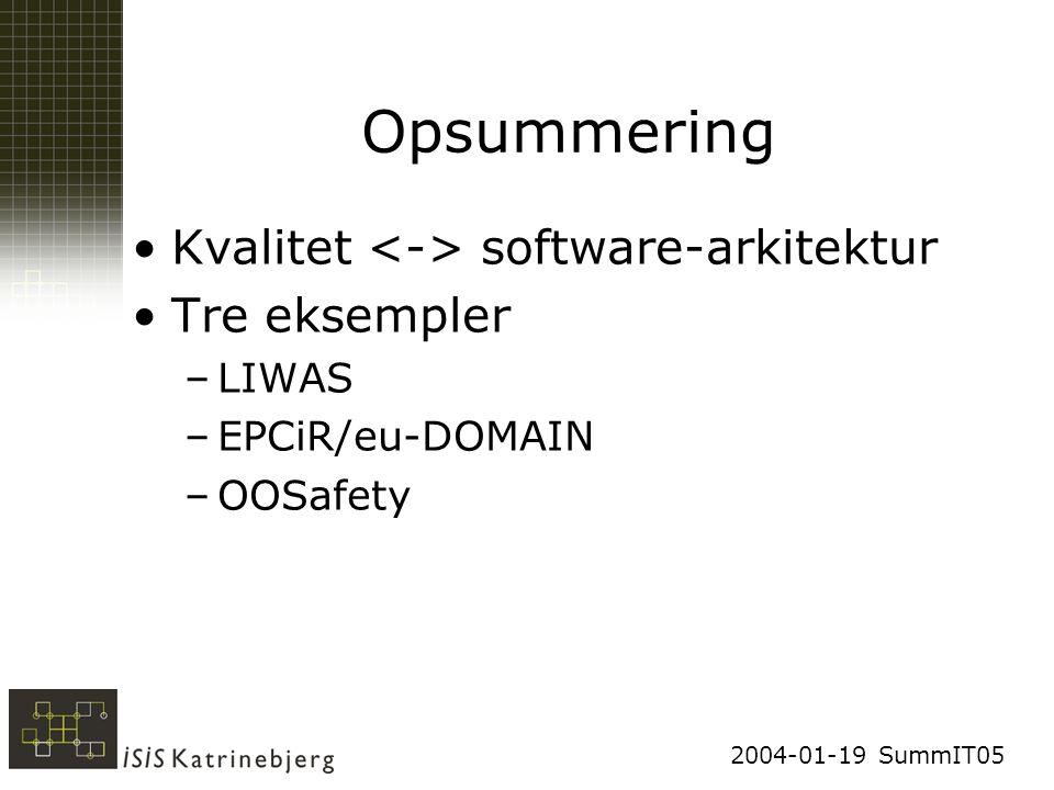 2004-01-19 SummIT05 Opsummering Kvalitet software-arkitektur Tre eksempler –LIWAS –EPCiR/eu-DOMAIN –OOSafety