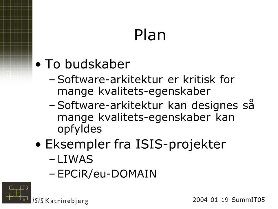 2004-01-19 SummIT05 Plan To budskaber –Software-arkitektur er kritisk for mange kvalitets-egenskaber –Software-arkitektur kan designes så mange kvalitets-egenskaber kan opfyldes Eksempler fra ISIS-projekter –LIWAS –EPCiR/eu-DOMAIN