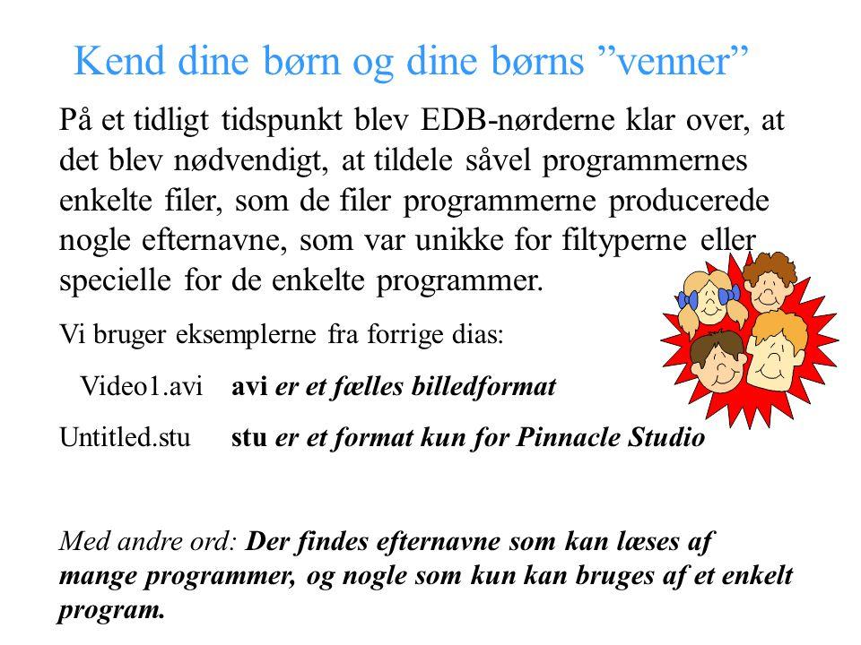 Kend dine børn og dine børns venner På et tidligt tidspunkt blev EDB-nørderne klar over, at det blev nødvendigt, at tildele såvel programmernes enkelte filer, som de filer programmerne producerede nogle efternavne, som var unikke for filtyperne eller specielle for de enkelte programmer.