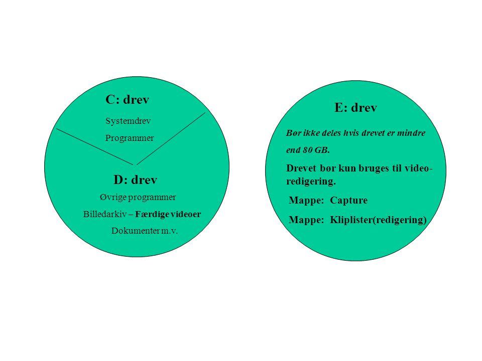 C: drev D: drev E: drev Systemdrev Programmer Øvrige programmer Billedarkiv – Færdige videoer Dokumenter m.v.