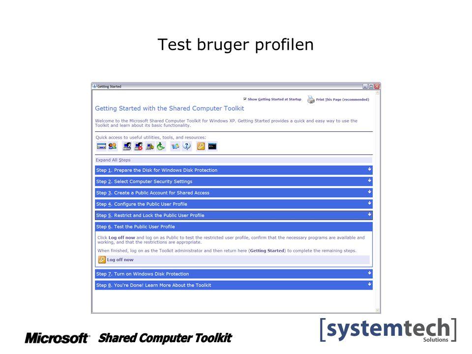 Test bruger profilen
