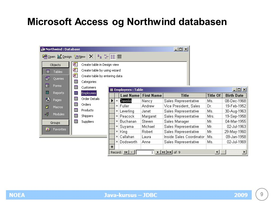 9 NOEA2009Java-kursus – JDBC Microsoft Access og Northwind databasen
