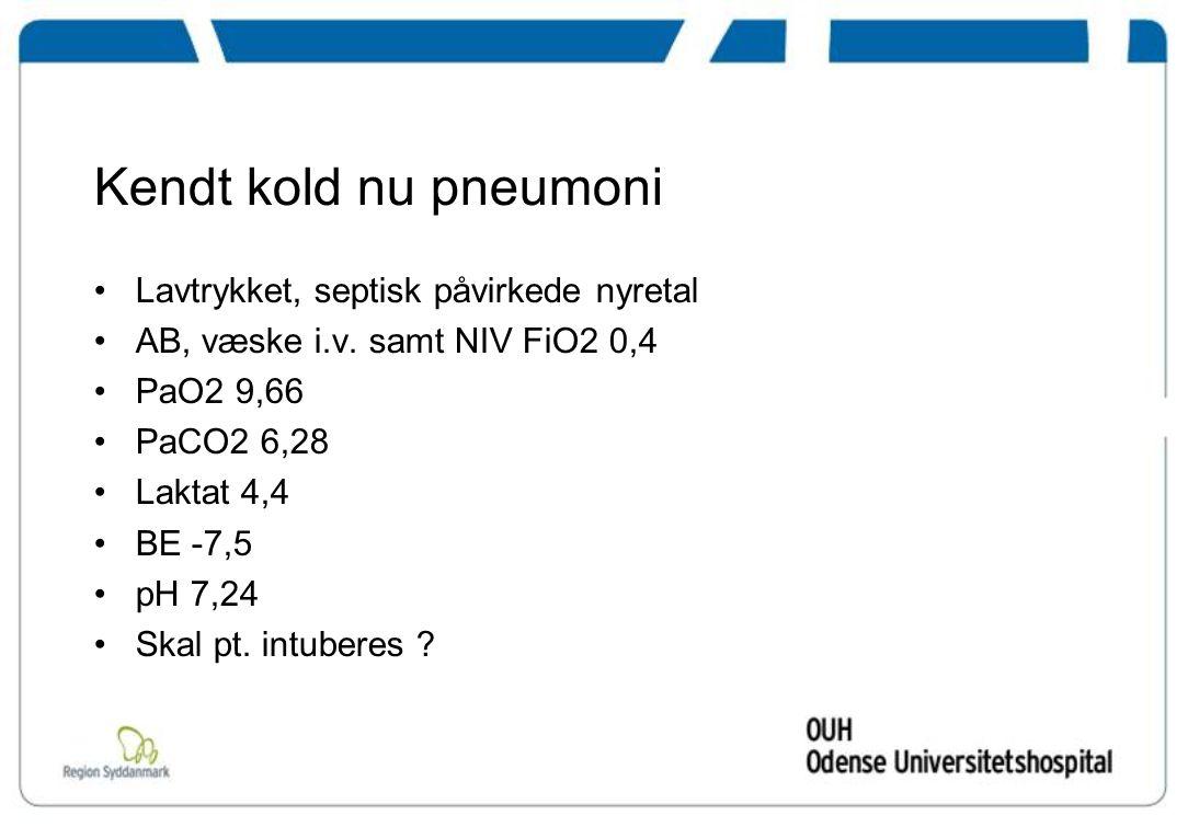 Kendt kold nu pneumoni Lavtrykket, septisk påvirkede nyretal AB, væske i.v.