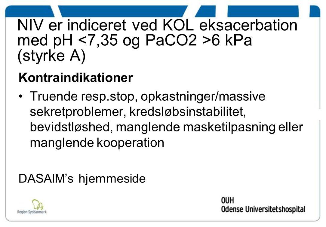 NIV er indiceret ved KOL eksacerbation med pH 6 kPa (styrke A) Kontraindikationer Truende resp.stop, opkastninger/massive sekretproblemer, kredsløbsinstabilitet, bevidstløshed, manglende masketilpasning eller manglende kooperation DASAIM's hjemmeside