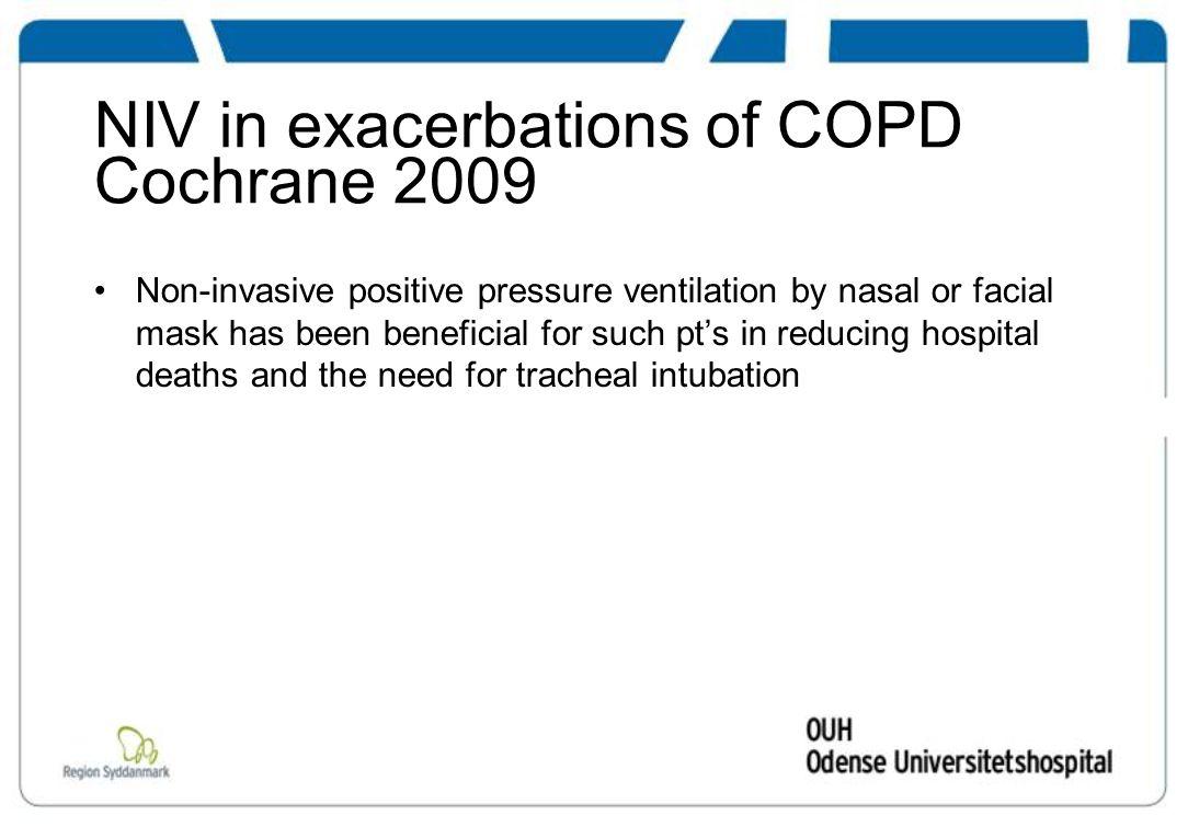 NIV til selekteret ARDS Klarer sig på NIV Intuberes forsinket efter svigt af NIV ICU mortalitet 6 % 53 % p<