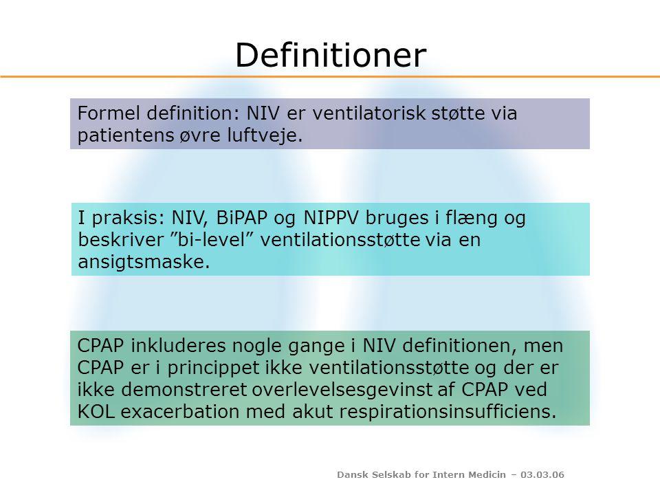 Dansk Selskab for Intern Medicin – 03.03.06 NIV og mortalitet Lightowler et al: BMJ 2003: 185-189