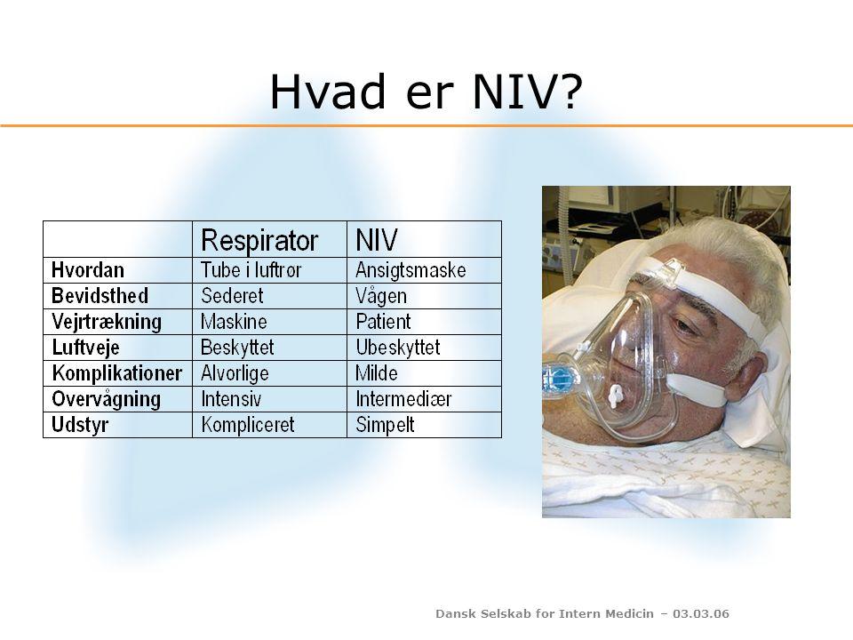 Dansk Selskab for Intern Medicin – 03.03.06 pH > 7,35pH: 7,30-7,35pH: 7,20-7,30pH < 7,20 80 % vil få det bedre – selv uden NIV Uden NIV vil 50 % forværres og få brug for intubation Selv med NIV vil 50 % få brug for intubation NIV ikke nødvendig NIV tilrådes NIV tilrådes kraftigt NIV eller intubation Lungeafdeling Intensiv eller lungeafdeling Intensiv Risiko bedømt ud fra pH