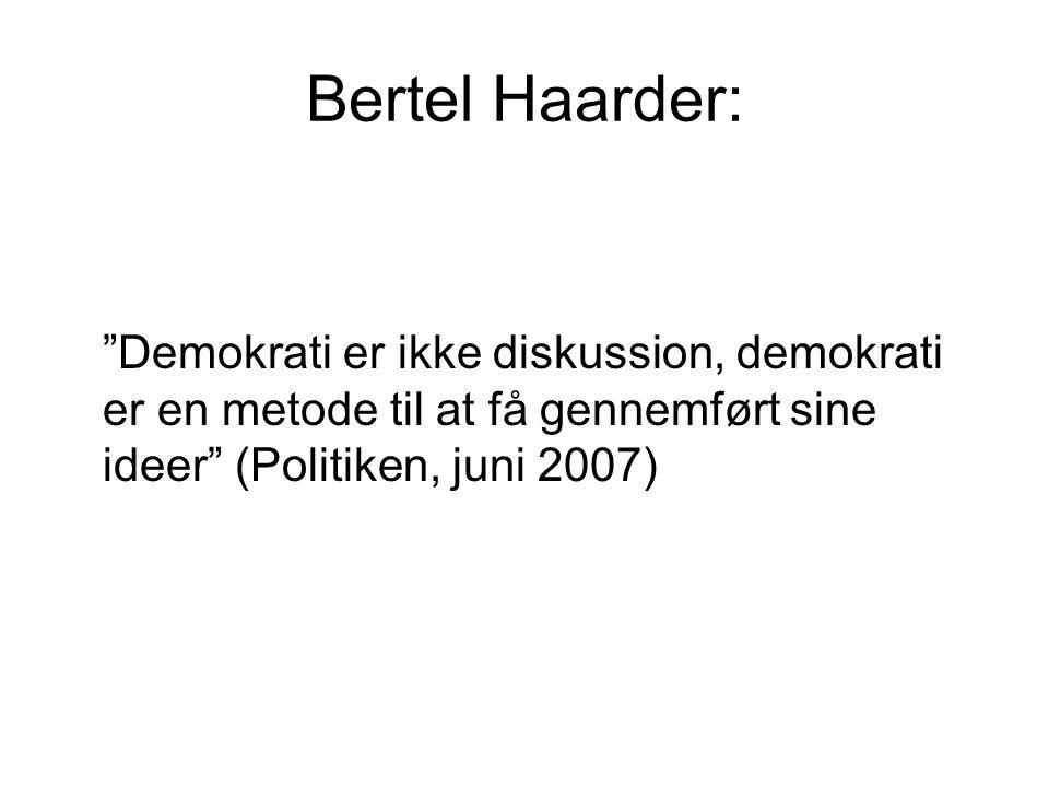 Bertel Haarder: Demokrati er ikke diskussion, demokrati er en metode til at få gennemført sine ideer (Politiken, juni 2007)