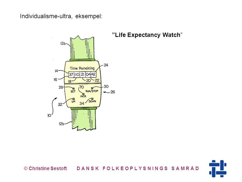 © Christine Sestoft D A N S K F O L K E O P L Y S N I N G S S A M R Å D Life Expectancy Watch Individualisme-ultra, eksempel: