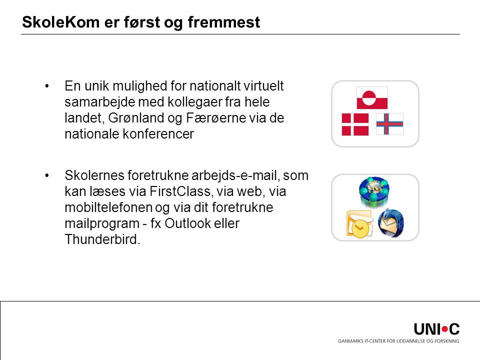 SkoleKom er først og fremmest En unik mulighed for nationalt virtuelt samarbejde med kollegaer fra hele landet, Grønland og Færøerne via de nationale konferencer Skolernes foretrukne arbejds-e-mail, som kan læses via FirstClass, via web, via mobiltelefonen og via dit foretrukne mailprogram - fx Outlook eller Thunderbird.