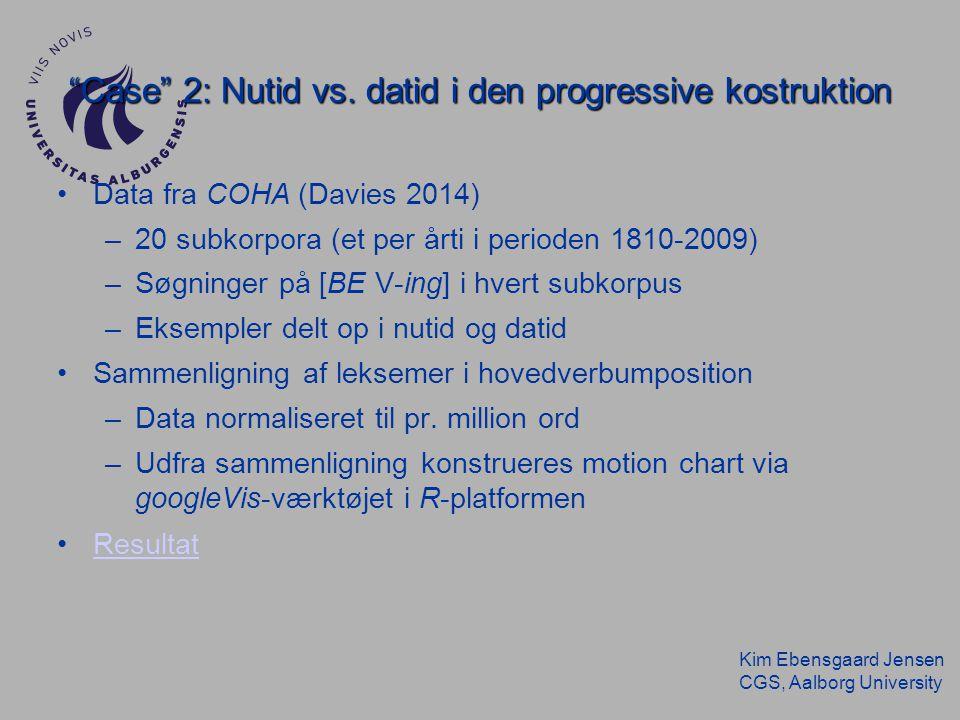 Kim Ebensgaard Jensen CGS, Aalborg University Case 2: Nutid vs.