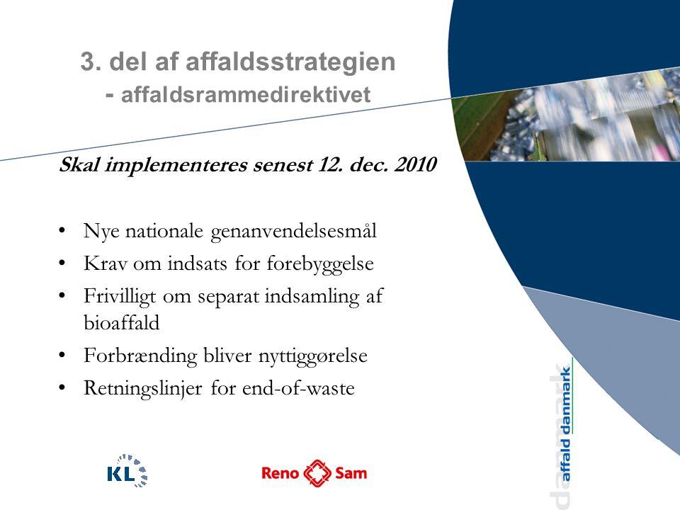3. del af affaldsstrategien - affaldsrammedirektivet Skal implementeres senest 12.