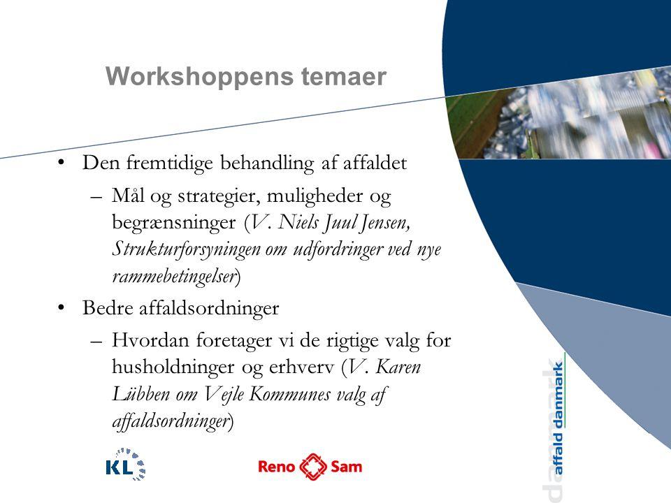 Workshoppens temaer Den fremtidige behandling af affaldet –Mål og strategier, muligheder og begrænsninger (V.