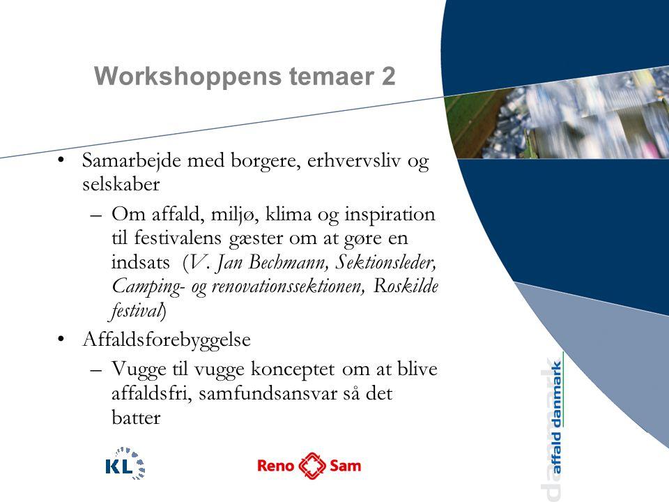 Workshoppens temaer 2 Samarbejde med borgere, erhvervsliv og selskaber –Om affald, miljø, klima og inspiration til festivalens gæster om at gøre en indsats (V.