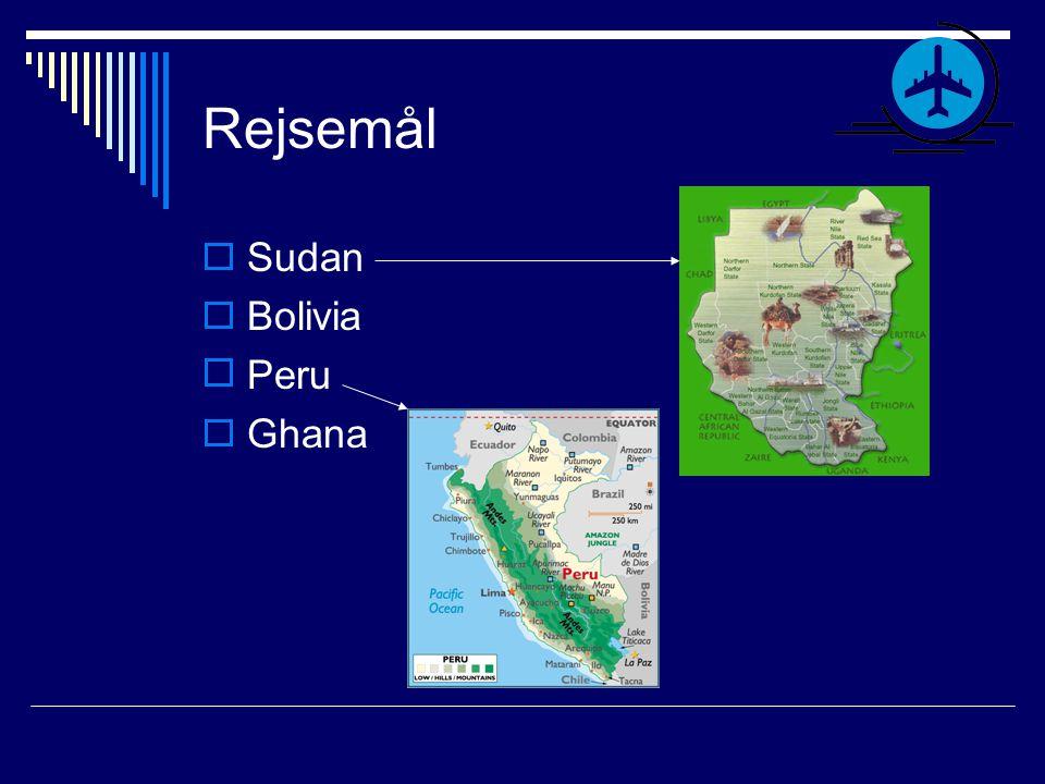 Rejsemål Sudan Bolivia Peru Ghana