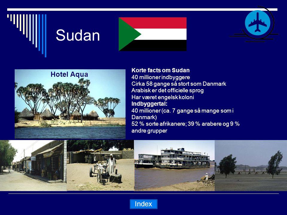 Sudan Hotel Aqua Korte facts om Sudan 40 millioner indbyggere Cirka 58 gange så stort som Danmark Arabisk er det officielle sprog Har været engelsk koloni Indbyggertal: 40 millioner (ca.
