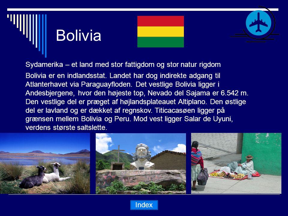 Bolivia Sydamerika – et land med stor fattigdom og stor natur rigdom Bolivia er en indlandsstat.
