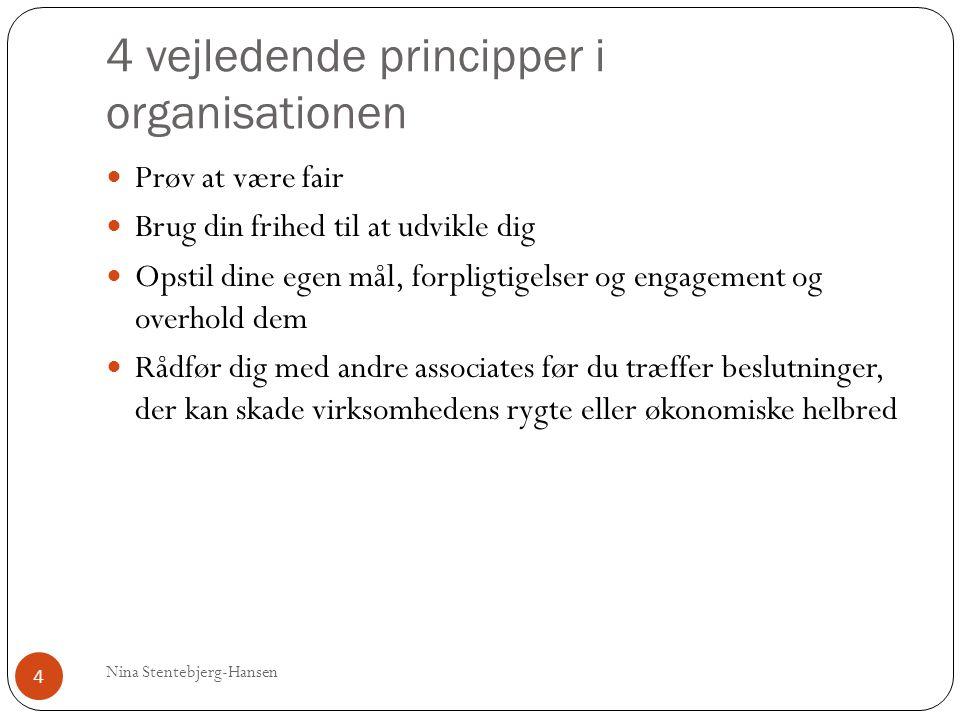 4 vejledende principper i organisationen Nina Stentebjerg-Hansen 4 Prøv at være fair Brug din frihed til at udvikle dig Opstil dine egen mål, forpligtigelser og engagement og overhold dem Rådfør dig med andre associates før du træffer beslutninger, der kan skade virksomhedens rygte eller økonomiske helbred