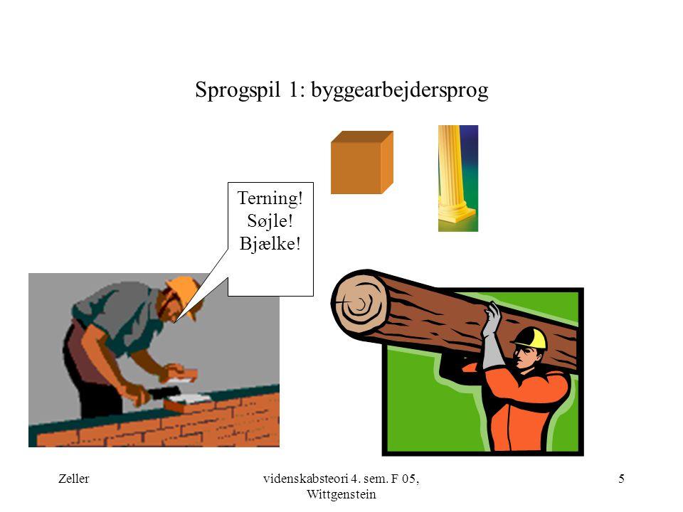 Zellervidenskabsteori 4. sem. F 05, Wittgenstein 5 Sprogspil 1: byggearbejdersprog Terning.