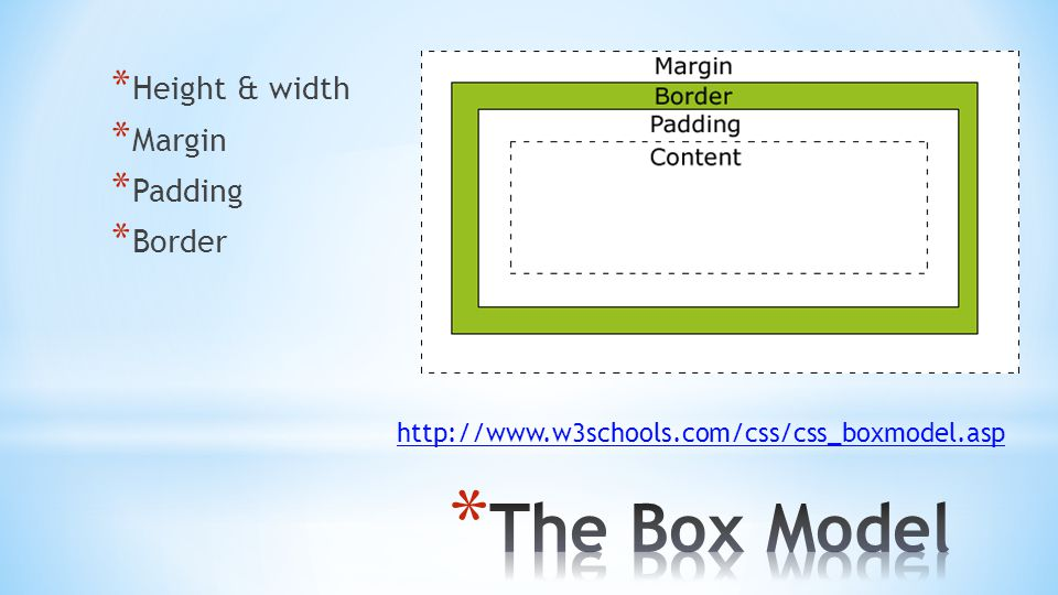 * Height & width * Margin * Padding * Border http://www.w3schools.com/css/css_boxmodel.asp