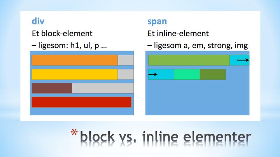 * Vi kan nu ramme de html-elementer vi vil… * Lad os få placeret vores kasser /strukturelle elementer * Dertil bruger vi en række inline-block-regler