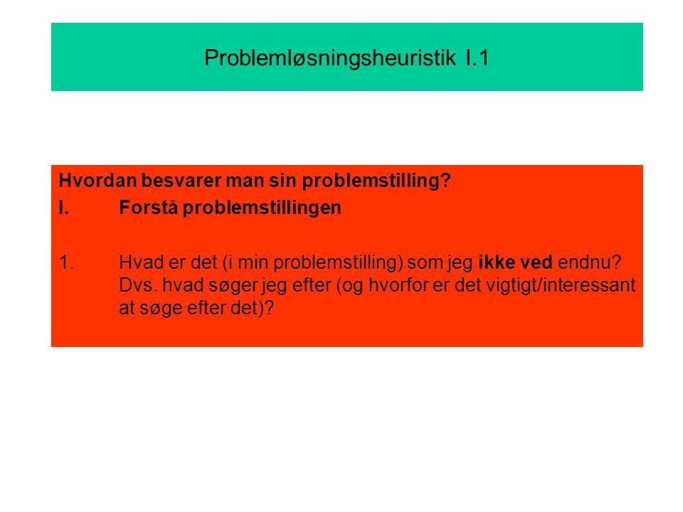 Problemløsningsheuristik I.1 Hvordan besvarer man sin problemstilling.