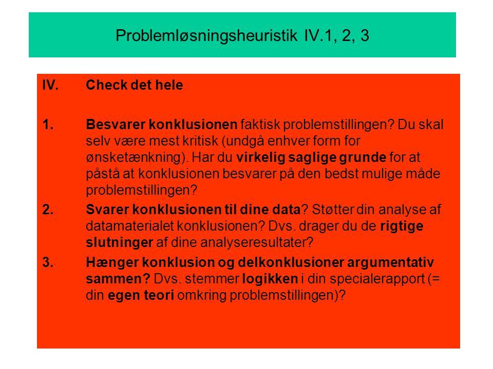 Problemløsningsheuristik IV.1, 2, 3 IV.Check det hele 1.Besvarer konklusionen faktisk problemstillingen.