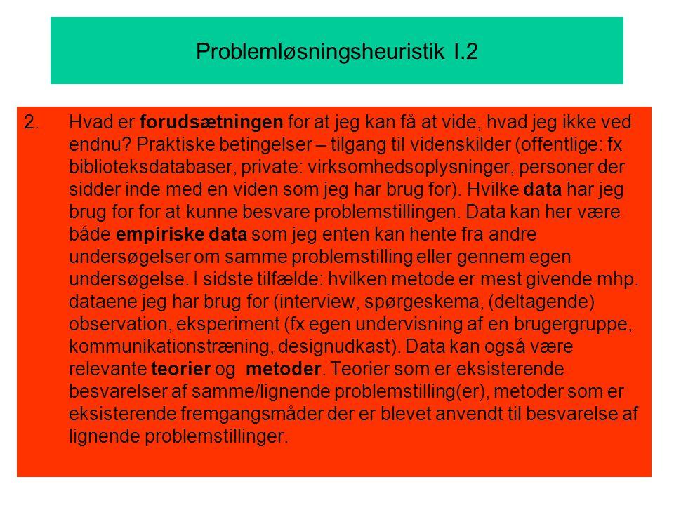 Problemløsningsheuristik I.2 2.Hvad er forudsætningen for at jeg kan få at vide, hvad jeg ikke ved endnu.