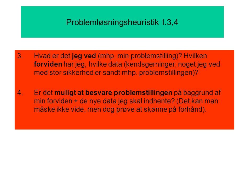 Problemløsningsheuristik I.3,4 3.Hvad er det jeg ved (mhp.