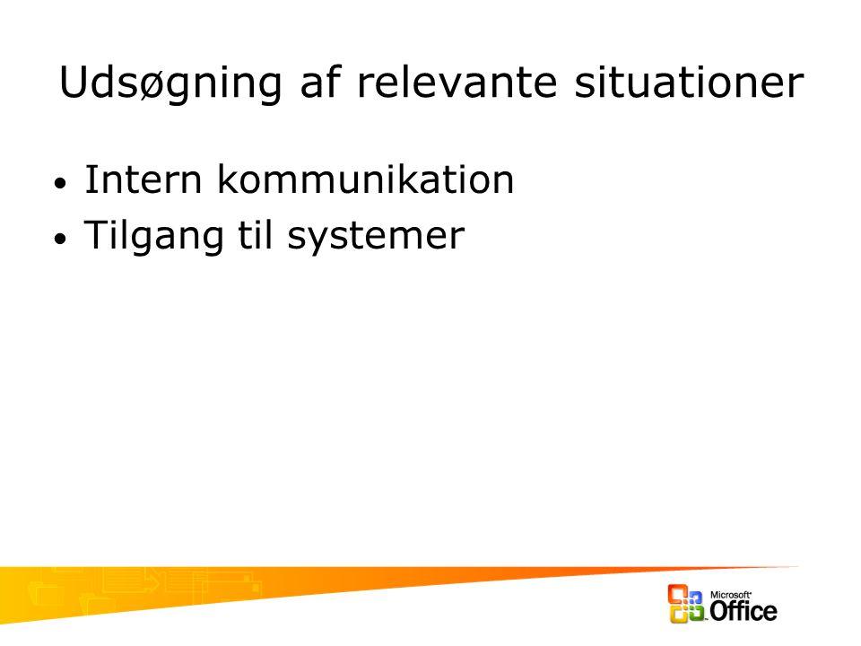 Udsøgning af relevante situationer Intern kommunikation Tilgang til systemer