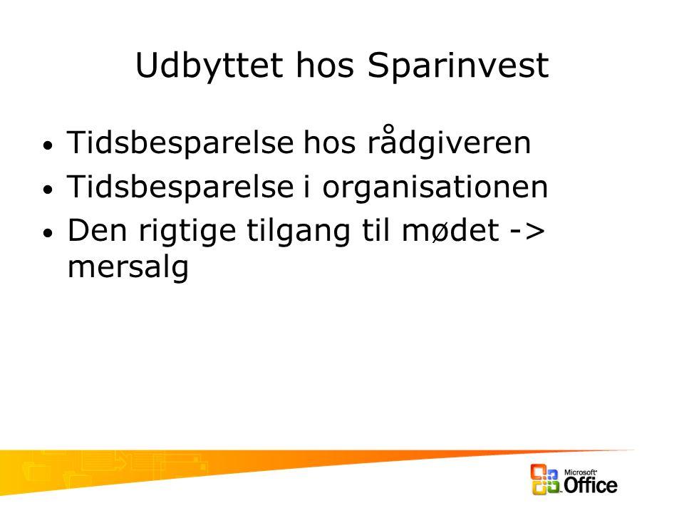 Udbyttet hos Sparinvest Tidsbesparelse hos rådgiveren Tidsbesparelse i organisationen Den rigtige tilgang til mødet -> mersalg